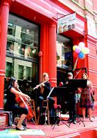 Live music and balloons greeted customers at the grand opening of the Tribeca location.